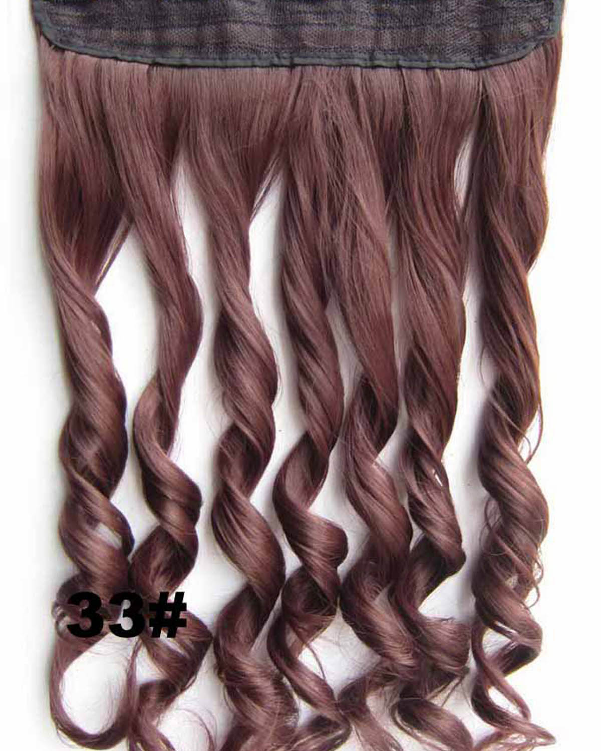 24 Inch Lady Exquisite Body Wave Curly Long One Piece 5 Clips Clip in Synthetic Hair Extension 33#