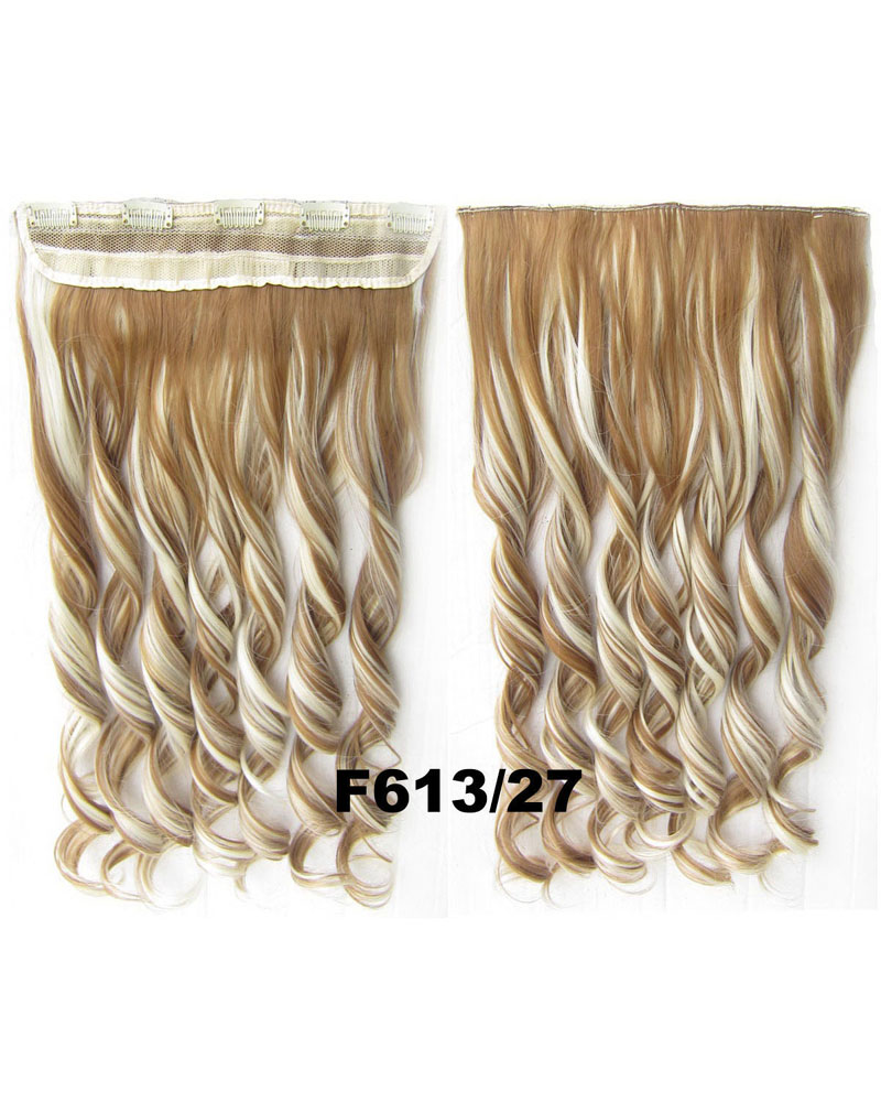 24 Inch Lady Fantastic Body Wave Curly Long One Piece 5 Clips Clip in Synthetic Hair Extension F613/27