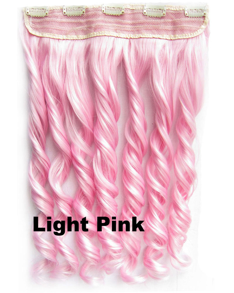 24 Inch Lady Gorgeous Body Wave Curly Long One Piece 5 Clips Clip in Synthetic Hair Extension Light Pink