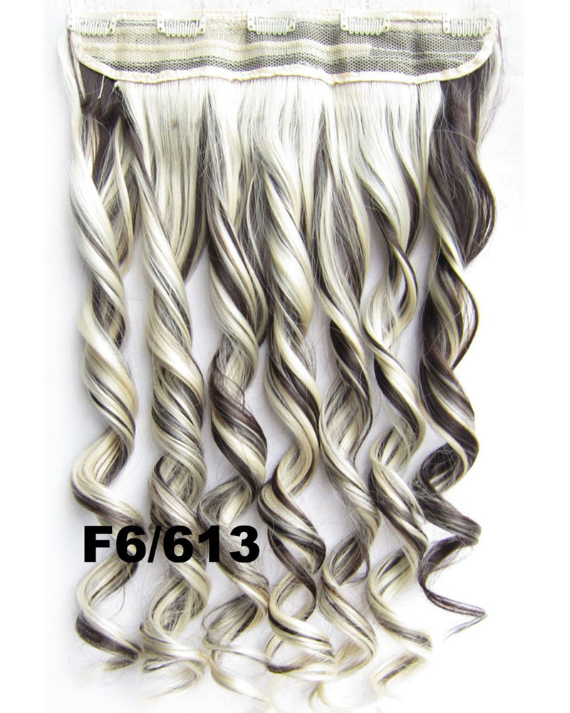 24 Inch Lady Graceful Body Wave Curly Long One Piece 5 Clips Clip in Synthetic Hair Extension F6/613