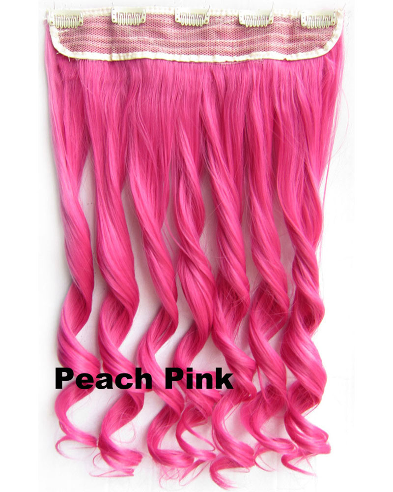24 Inch Lady Harajuku Body Wave Curly Long One Piece 5 Clips Clip in Synthetic Hair Extension Peach Pink