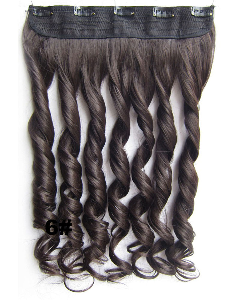24 Inch Lady High Quality and Thicker Body Wave Curly Long One Piece 5 Clips Clip in Synthetic Hair Extension 6#