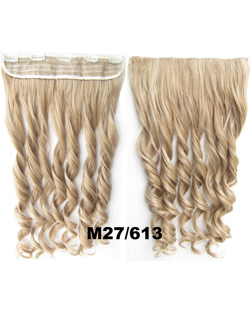 24 Inch Lady Hot-sale Curly Long One Piece 5 Clips Clip in Synthetic Hair Extension  M27/613