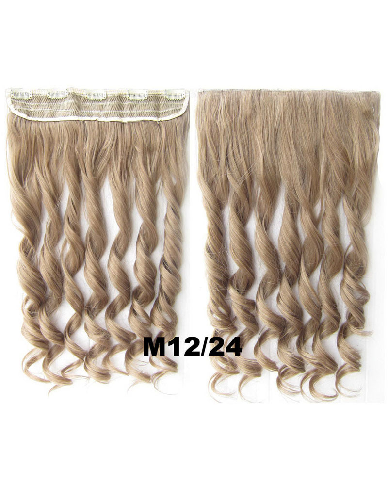 24 Inch Lady Popular Body Wave Curly Long One Piece 5 Clips Clip in Synthetic Hair Extension M12/24