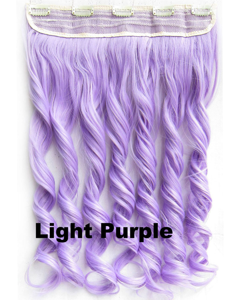24 Inch Lady Punk Body Wave Curly Long One Piece 5 Clips Clip in Synthetic Hair Extension Light Purple