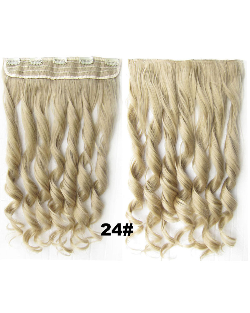 24 Inch Lady Silky Body Wave Curly Long One Piece 5 Clips Clip in Synthetic Hair Extension 24#