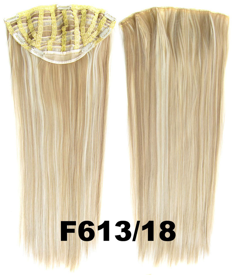 24 Inch Lady Straight and Long Clean and Neat One Piece 7 Clips Clip in Synthetic Hair Extension F613/18