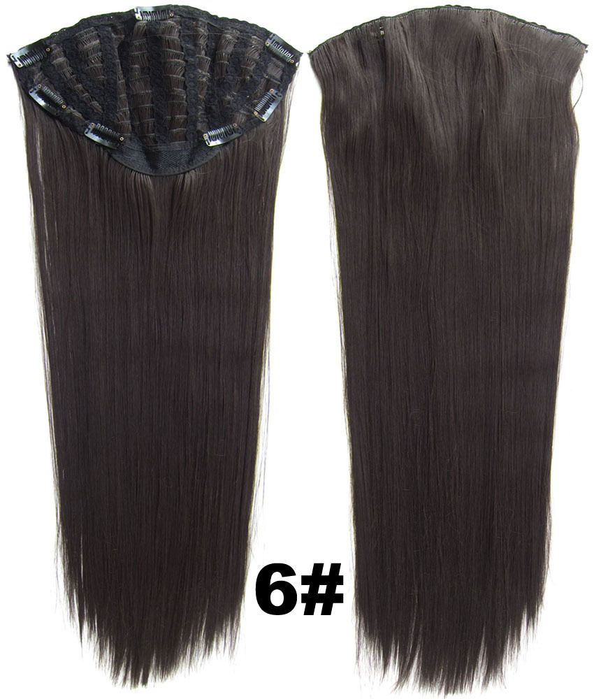 24 Inch Lady Straight and Long Lustrous One Piece 7 Clips Clip in Synthetic Hair Extension 6#