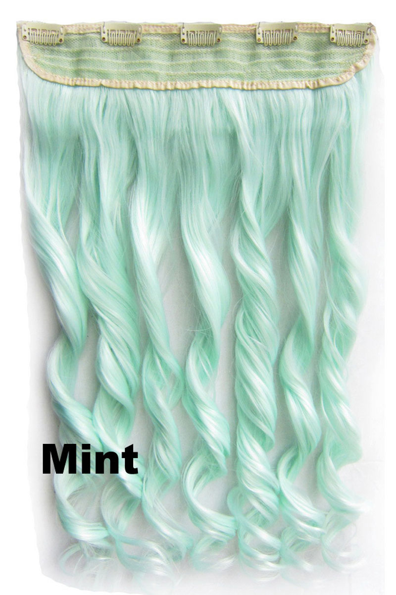 24 Inch Lady Street Fashional Body Wave Curly Long One Piece 5 Clips Clip in Synthetic Hair Extension Mint