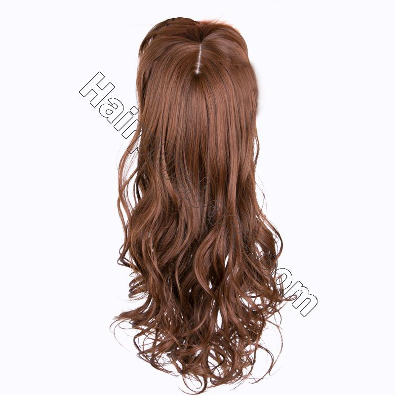 24 Inch Long Curly Hair Topper with Bangs Synthetic Hair Pieces For Thin Hair 2