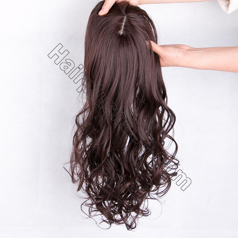 24 Inch Long Curly Hair Topper with Bangs Synthetic Hair Pieces For Thin Hair 3