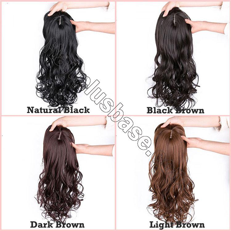 24 Inch Long Curly Hair Topper with Bangs Synthetic Hair Pieces For Thin Hair 4