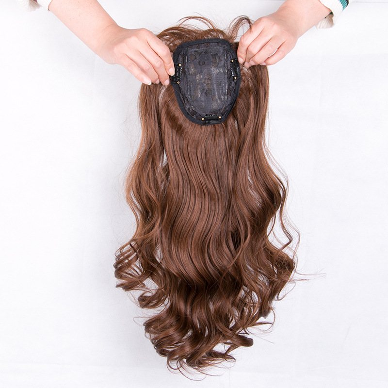 24 Inch Long Curly Hair Topper with Bangs Synthetic Hair Pieces For Thin Hair 6