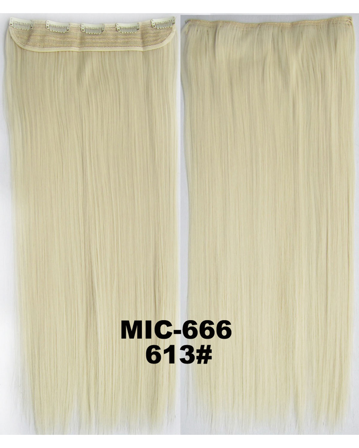 24 inch Modern Straight Long One Piece 5 Clips Clip in Synthetic Hair Extension  613#100g