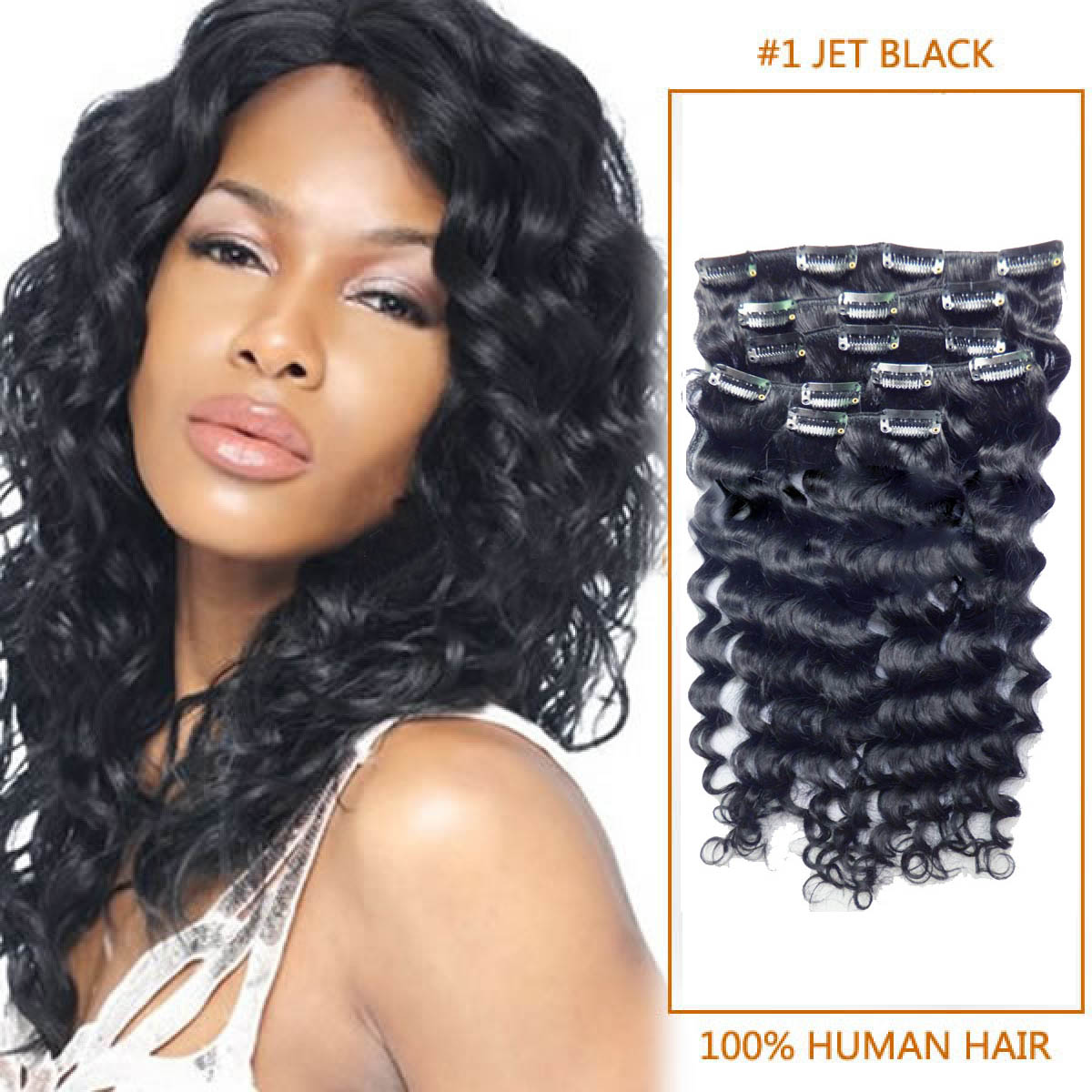 24 Inch New 1 Jet Black Clip In Remy Hair Extensions Curly 7 Pcs Pack