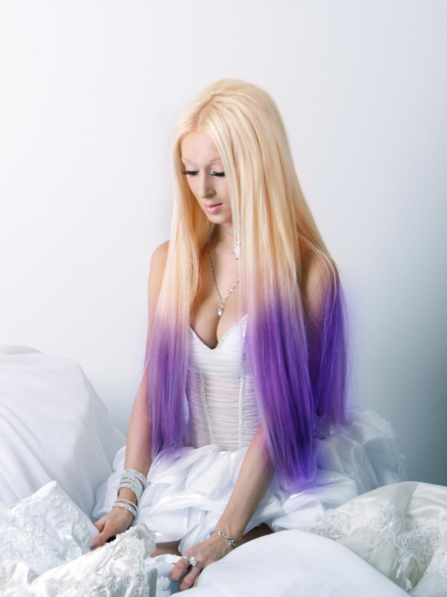 24 Inch Ombre Harmonious Two Color Clip In Hair Extensions Two Tone