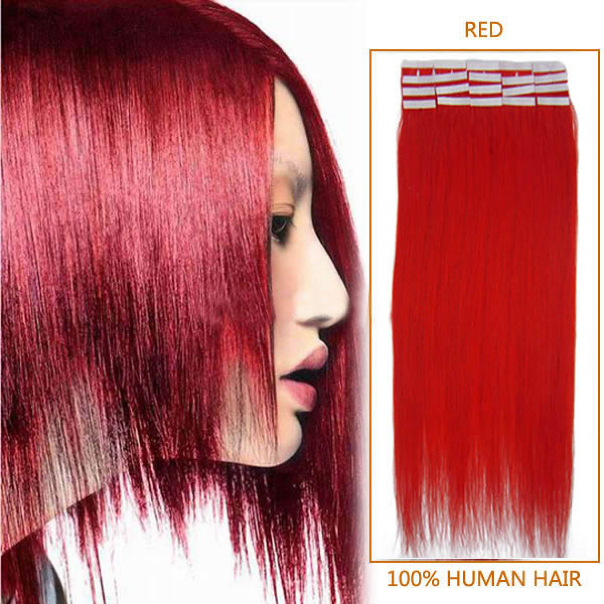 24 Inch Red Tape In Human Hair Extensions 20pcs