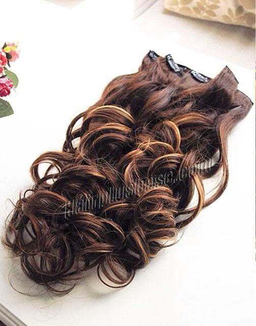 24 Inch Refined Three Colors Clip In Human Hair Extensions Body Wave 9pcs no 2