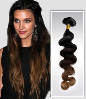 24 Inch Retro Three Colors Ombre Clip In Indian Remy Hair Extensions Body Wave 9pcs