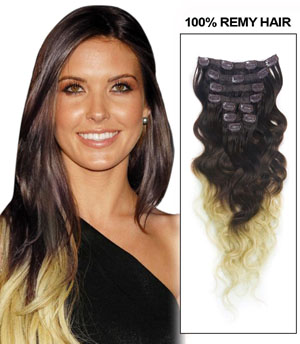 24 Inch Special Three Colors Ombre Clip In Remy Hair Extensions Body Wave 9pcs