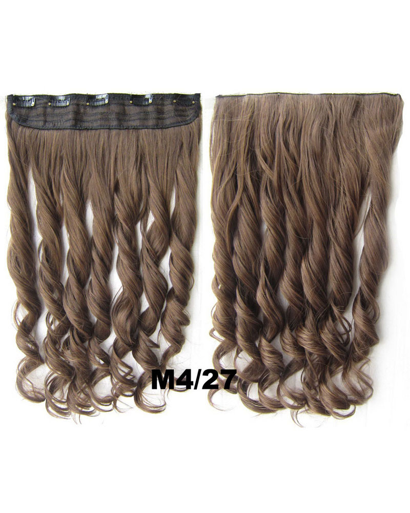 24 Inch Women Beautiful  Body Wave Curly Long One Piece 5 Clips Clip in Synthetic Hair Extension  M4/27