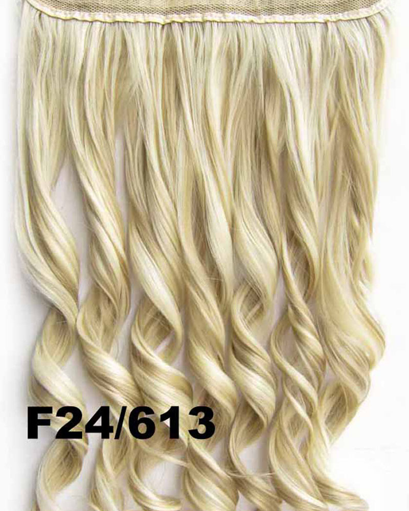 24 Inch Women  Body Wave Curly Long One Piece 5 Clips Clip in Synthetic Hair Extension F24/613
