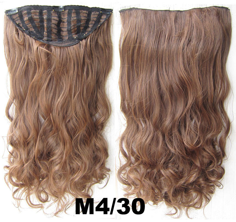 24 Inch Women Curly and Long Bright  One Piece 7 Clips Clip in Synthetic Hair ExtensionM4/30