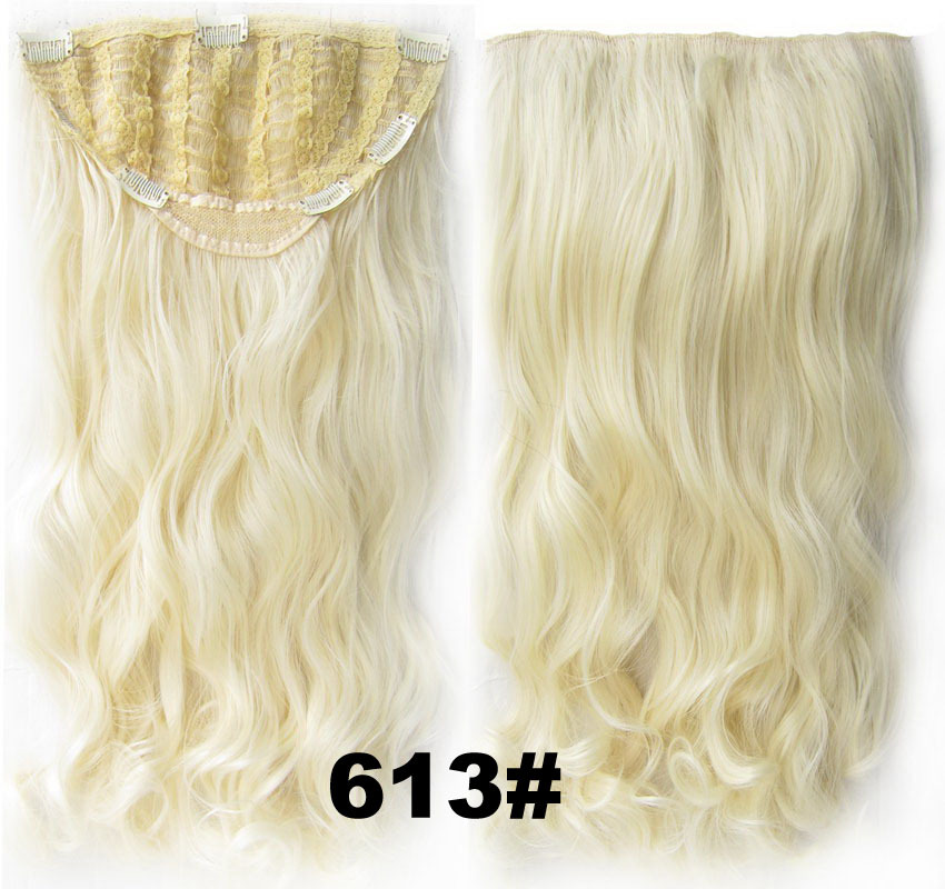 24 Inch Women Curly and Long Delicate One Piece 7 Clips Clip in Synthetic Hair Extension613# Simpsons Hairpiece