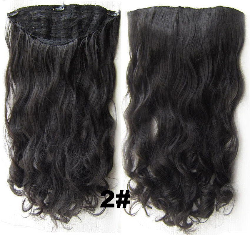 24 Inch Women Curly and Long Good Quality One Piece 7 Clips Clip in Synthetic Hair Extension 2#