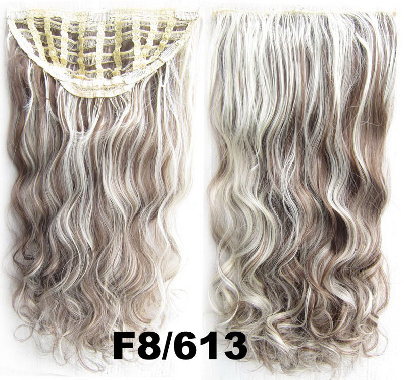 24 Inch Women Curly and Long Modern One Piece 7 Clips Clip in Synthetic Hair ExtensionF8/613 Simpsons Hairpiece