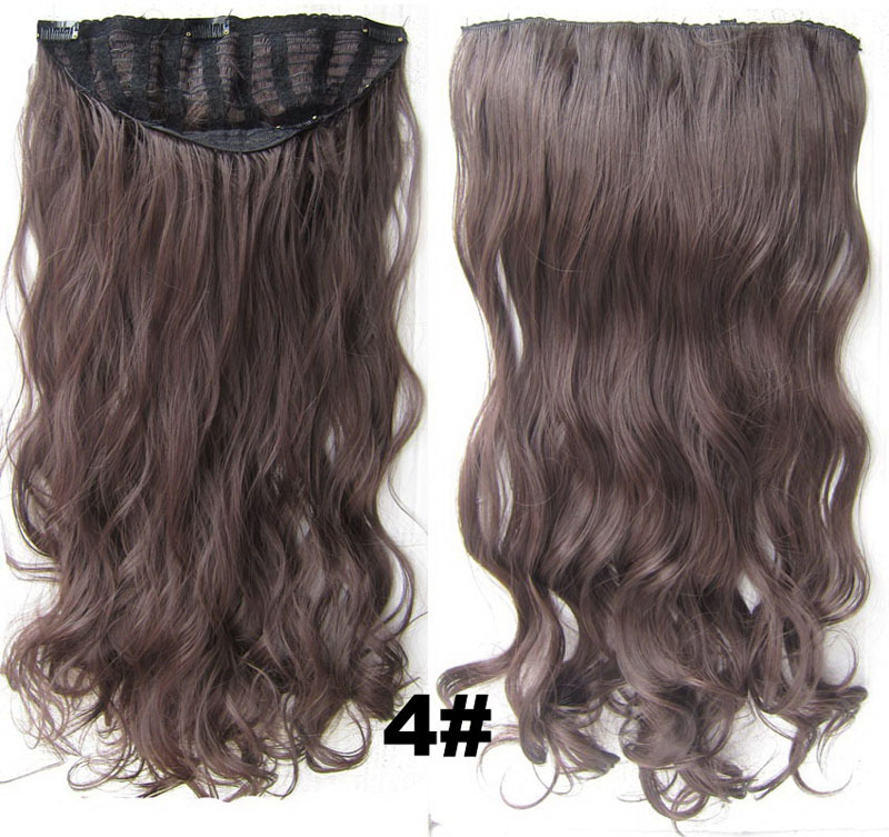 24 Inch Women Curly and Long Stylish One Piece 7 Clips Clip in Synthetic Hair Extension4#
