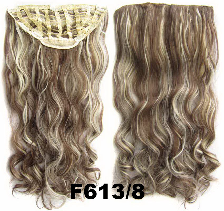 24 Inch Women Curly and Long Vogue One Piece 7 Clips Clip in Synthetic Hair ExtensionF613/8