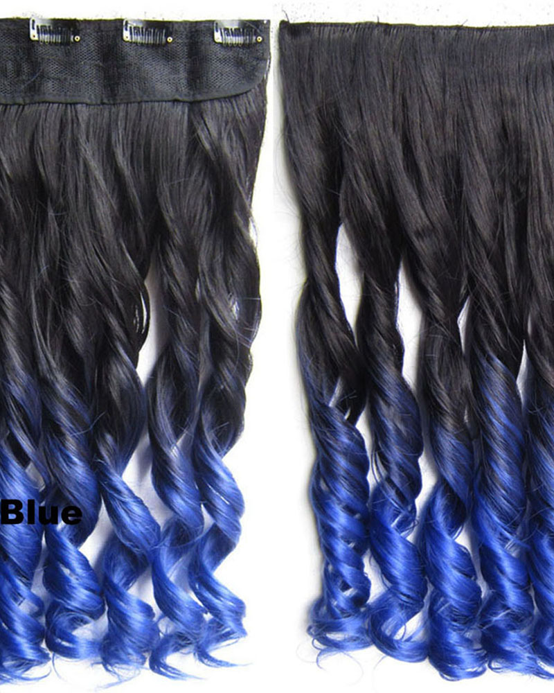 24 Inch Women Distinctive Body Wave Curly Long One Piece 5 Clips Clip in Synthetic Hair Ombre BlackTBlue