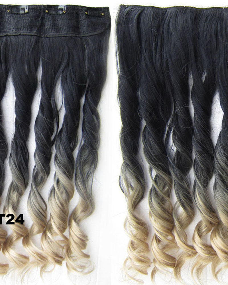 24 Inch Women Elegant  Body Wave Curly Long One Piece 5 Clips Clip in Synthetic Hair Ombre BlackT24