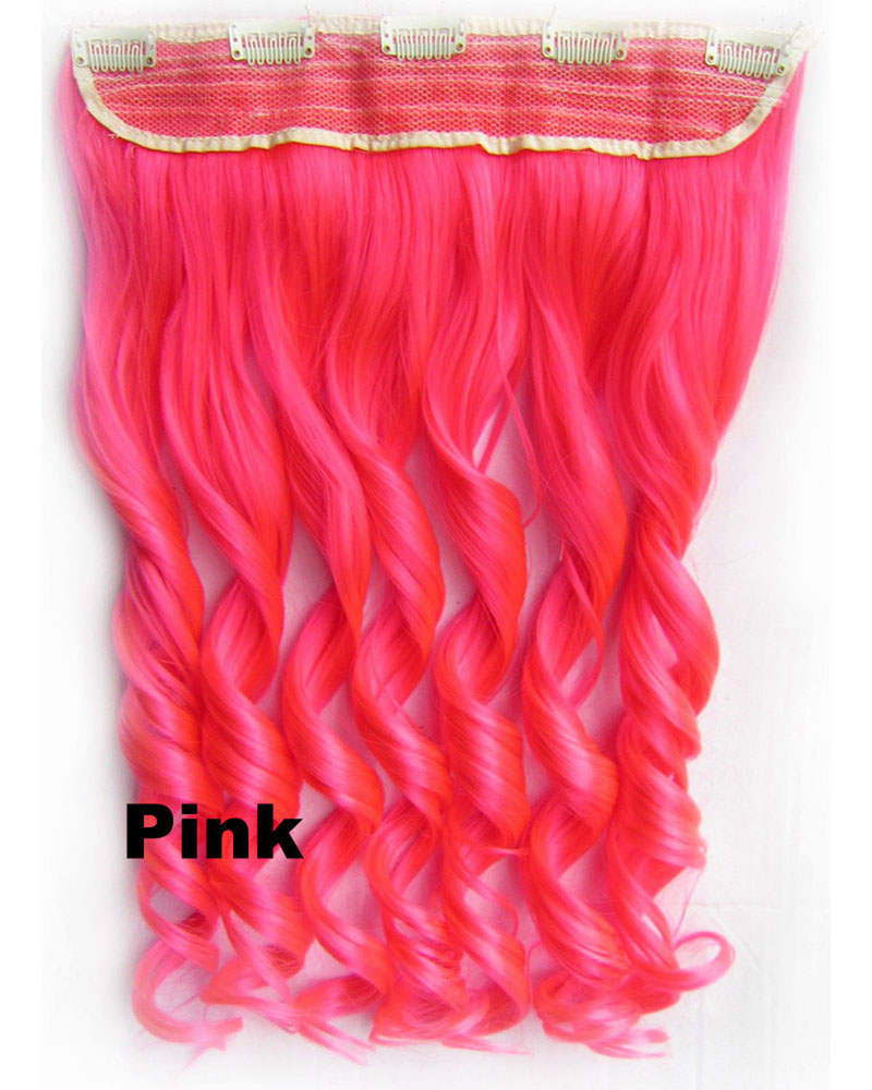 24 Inch Women Faddish Body Wave Curly Long One Piece 5 Clips Clip in Synthetic Hair Extension Pink