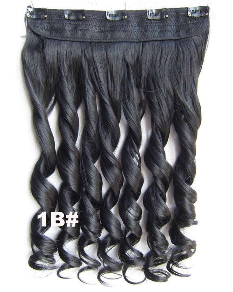 24 Inch Women Faultless Body Wave Curly Long One Piece 5 Clips Clip in Synthetic Hair 1B#