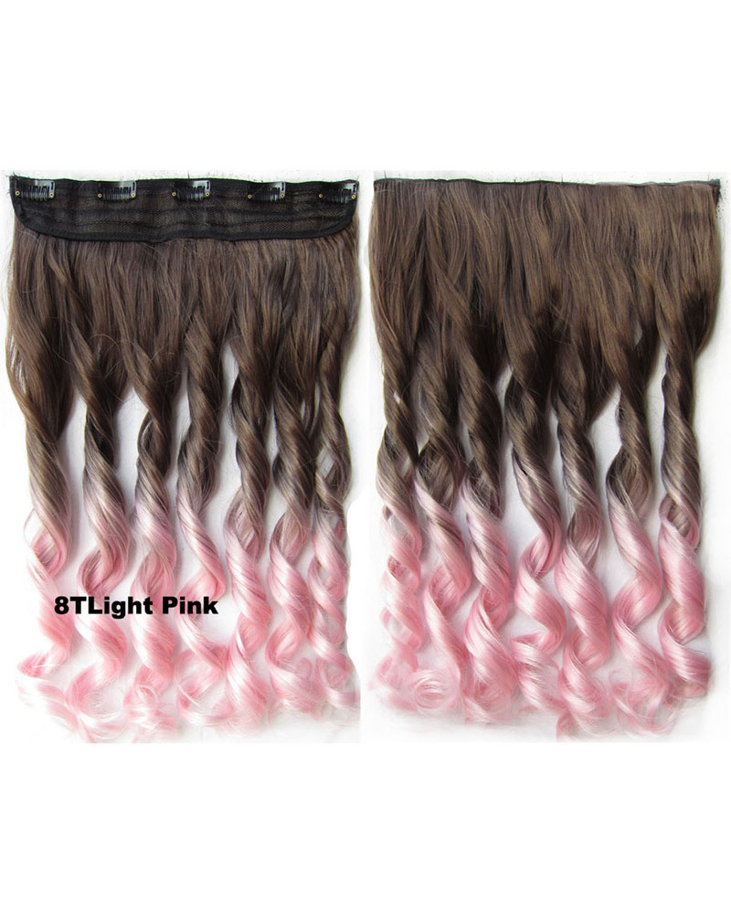 24 Inch Women Gripping  Body Wave Curly Long One Piece 5 Clips Clip in Synthetic Hair Ombre 8TLight Pink