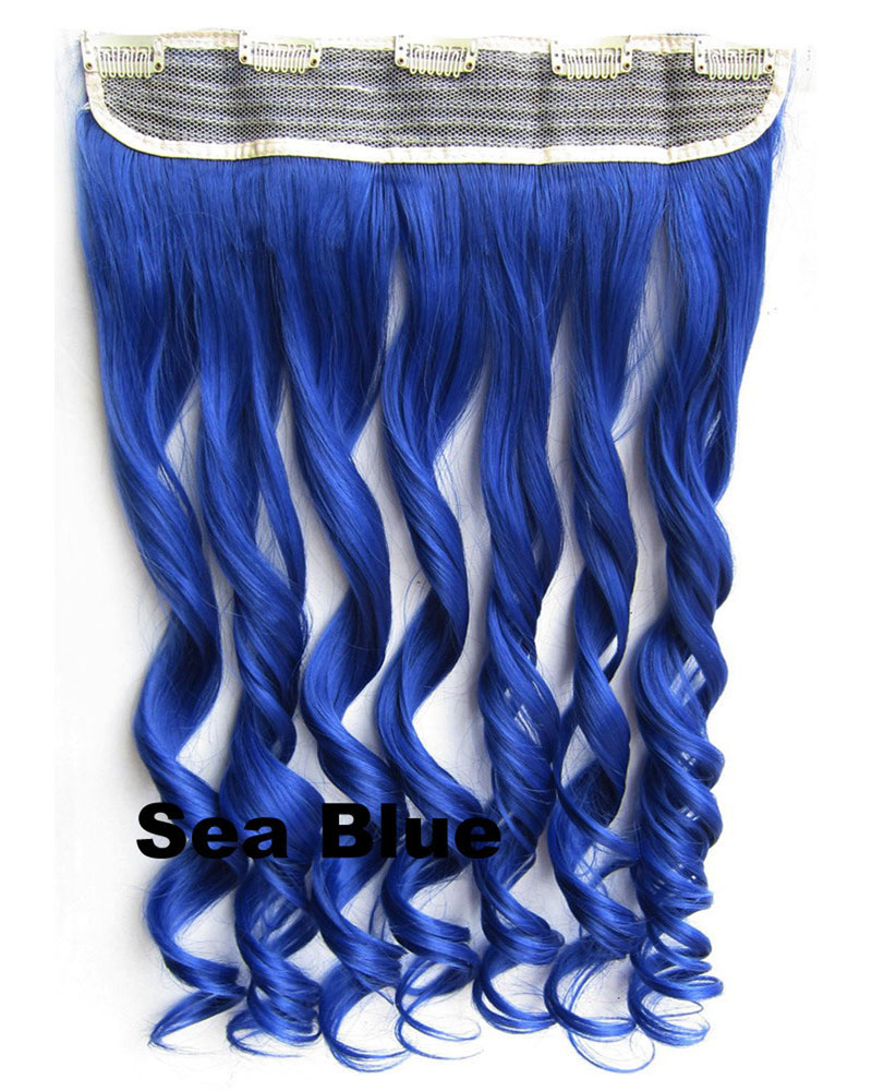 24 Inch  Women Harajuku Body Wave Curly Long One Piece 5 Clips Clip in Synthetic Hair Extension Ombre Sea Blue