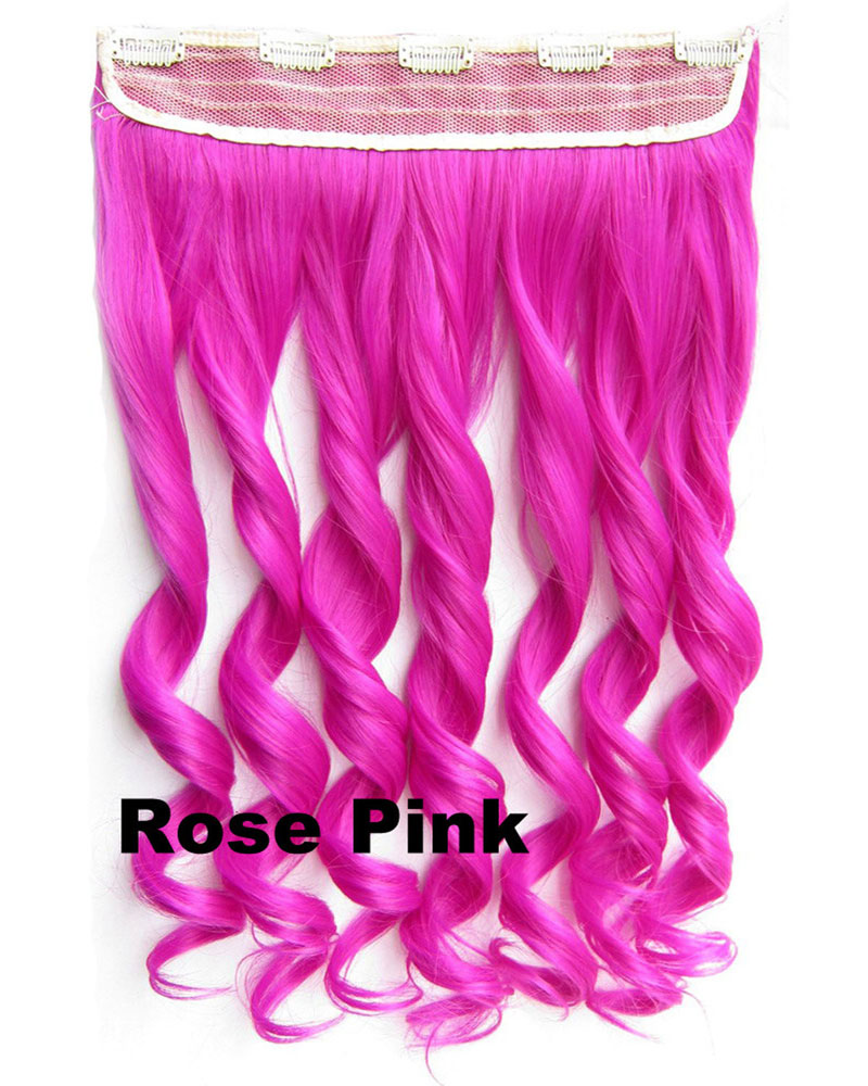 24 Inch Women Harajuku Body Wave Curly Long One Piece 5 Clips Clip in Synthetic Hair Extension Rose Pink