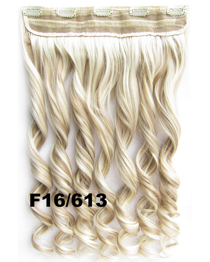 24 Inch Women Ideal Body Wave Curly Long One Piece 5 Clips Clip in Synthetic Hair F16/613#