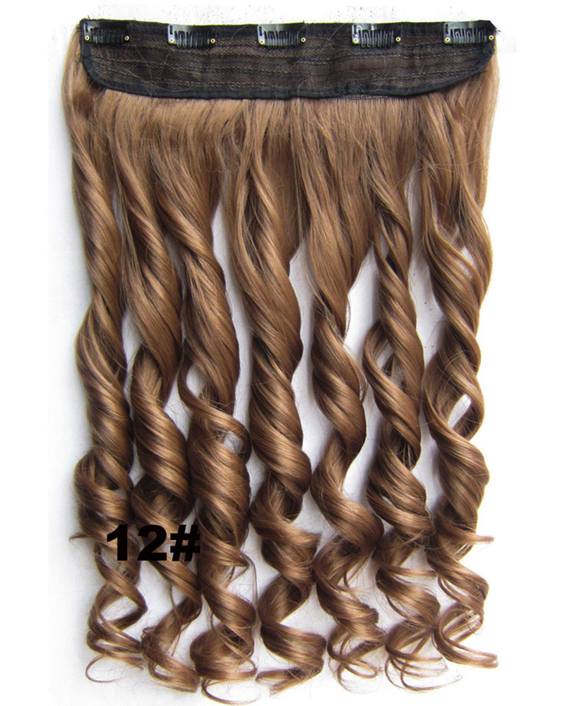 24 Inch Women Natural and Clean Body Wave Curly Long One Piece 5 Clips Clip in Synthetic Hair Extension 12#
