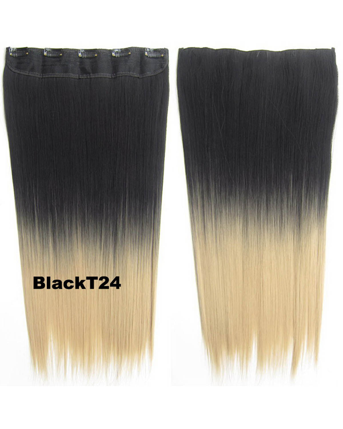 24 Inch Women Newly and Popular Straight Long One Piece 5 Clips Clip in Synthetic Hair Ombre BlackT24