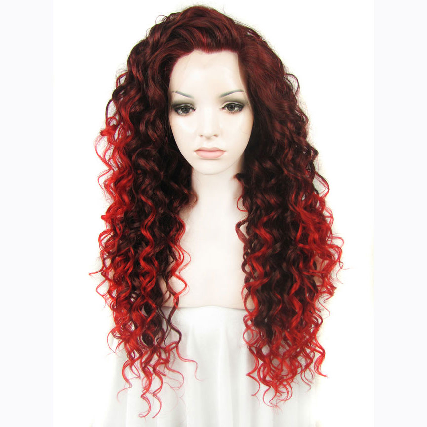 24 Inch Women's Ombre Red Curly Synthetic Lace Front Wig