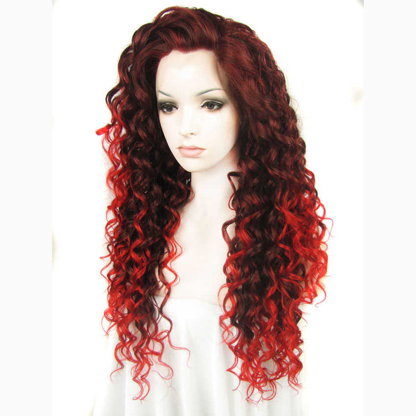 24 Inch Women s Ombre Red Curly Synthetic Lace Front Wig 2 2fab86670