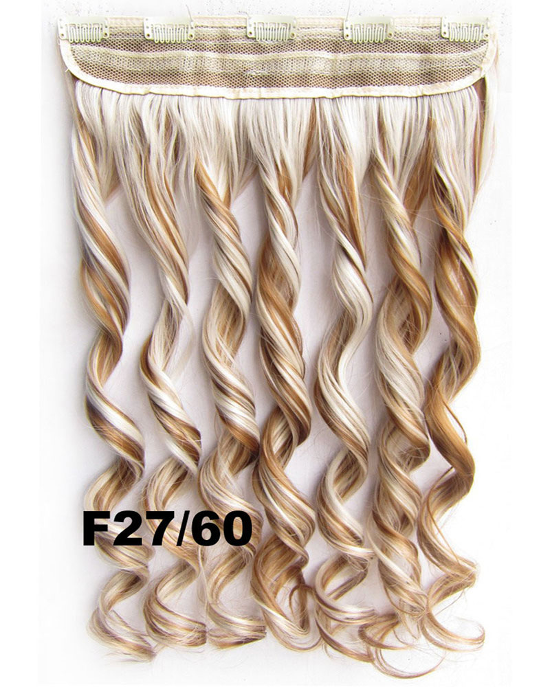 24 Inch Women Seductive Body Wave Curly Long One Piece 5 Clips Clip in Synthetic Hair F27/60