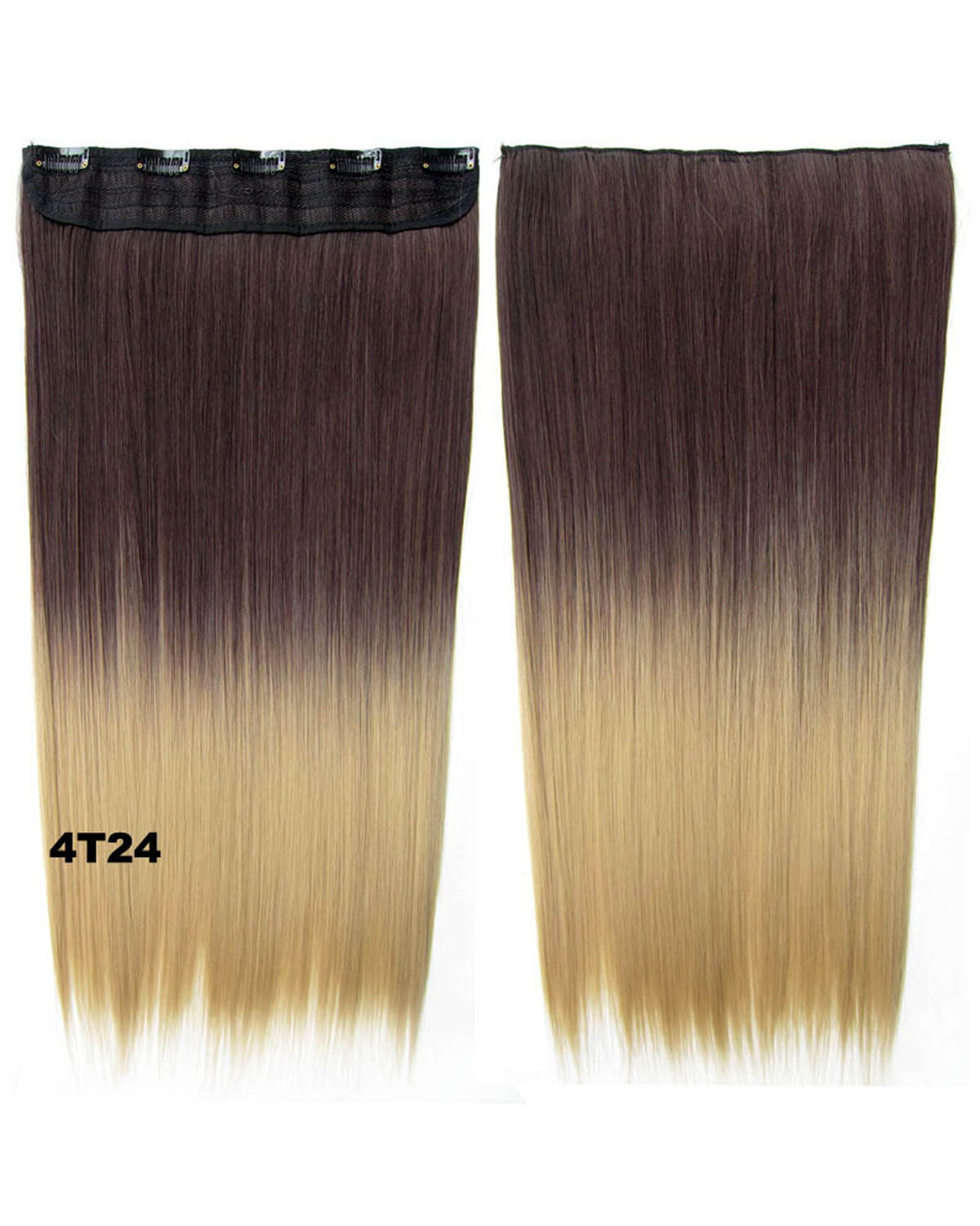 24 Inch Women Seductive Straight Long One Piece 5 Clips Clip in Synthetic Hair Ombre 4T24