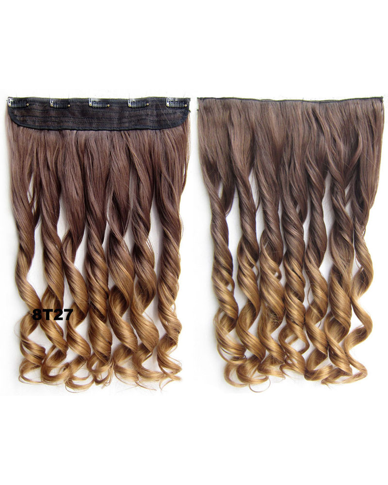 24 Inch Women Significant  Body Wave Curly Long One Piece 5 Clips Clip in Synthetic Hair Ombre 8T27