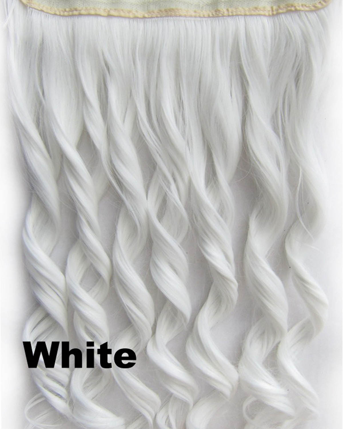 24 Inch Women Soft  Body Wave Curly Long One Piece 5 Clips Clip in Synthetic Hair White