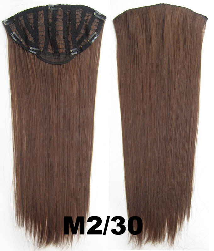24 Inch Women Straight and Long Clean One Piece 7 Clips Clip in Synthetic Hair Extension1B# Simpsons Hairpiece