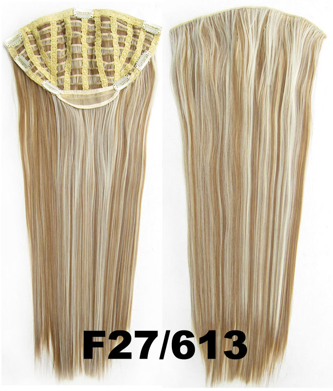 24 Inch Women Straight and Long Fine One Piece 7 Clips Clip in Synthetic Hair Extension 27/613#